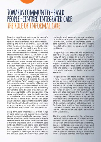 Towards Community-based People-centred Integrated Care: The Role Of Informal Care