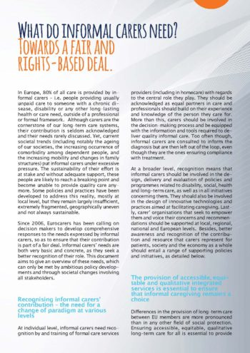 What Do Informal Carers Need? Towards A Fair And Rights-based Deal