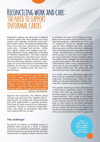 Reconciling Work And Care: The Need To Support Informal Carers
