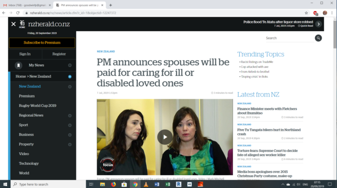 Good News In New Zeland: PM Announces Spouses Will Be Paid For Caring For Ill Or Disabled Loved Ones