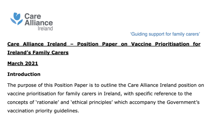 Care Alliance Ireland Position Paper On Vaccine Prioritisation For Family Carers