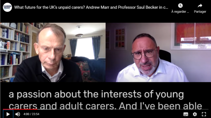 Professor Saul Becker Discusses The Future Of Unpaid Carers With UK's Key TV Journalist And Author, Andrew Marr